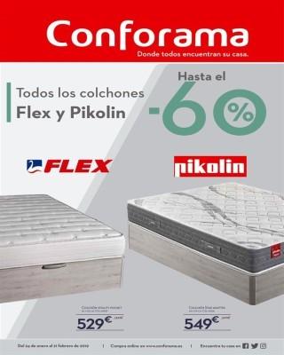 Catalogo Conforama Colchones Flex y Pikolin con descuentos hasta un 60 porciento