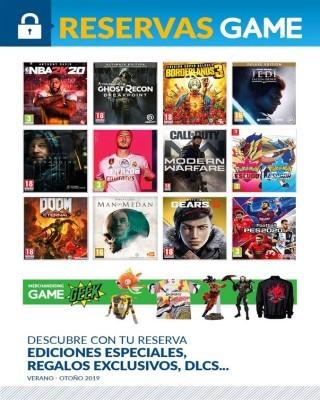 Catalogo Game reservas de juego